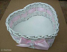 Dekorácie - Svadobný košíček - srdiečko menšie (so štrasom ružový) - 7750571_