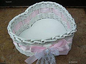 Dekorácie - Svadobný košíček - srdiečko menšie (so štrasom a čipkou ružový) - 7750721_