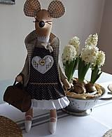 Bábiky - Myška s vintage kabelou - 7751603_