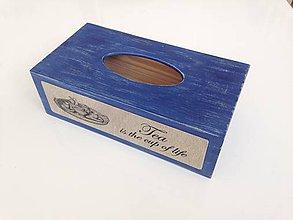 Krabičky - Modrá krabička na papierové vreckovky - 7752319_