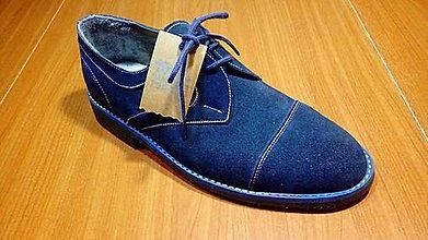 Obuv - Pánské kožené topánky s modrým rámikom - 7753147_