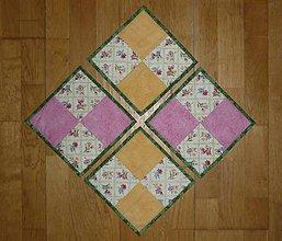 Úžitkový textil - Podšálky, podložky pod šálky, poháre - dva varianty (sada) - 7752367_
