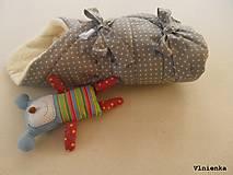Textil - Klasická zavinovačka pre novorodenca zimná 100% MERINO TOP Bodka sivá - 7752466_