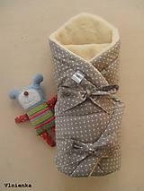 Textil - Klasická zavinovačka pre novorodenca zimná 100% MERINO TOP Bodka sivá - 7752480_