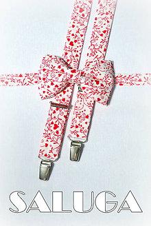 Doplnky - Pánske traky na strdiečka + motýlik - valentínske - zľúbené - 7750073_