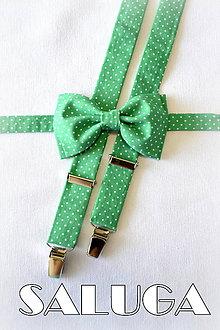 Doplnky - Pánske zelené traky + motýlik na biele bodky - 7750132_