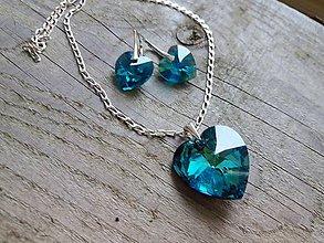 Sady šperkov - Swarovski srdiečka blue zirkonAB - 7753976_