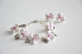 Sady šperkov - Nežné...sada náramok a napichovacie náušnice, fimo, ruže - 7750869_