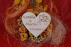 Darčeky pre svadobčanov - Drevená svadobná magnetka ako vyslužka hosťom  87 - 7750456_