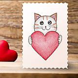 Papiernictvo - Kreslené srdce - mačka - 7752445_