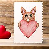 Papiernictvo - Kreslené srdce - zajačik - 7752775_