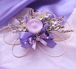 Darčeky pre svadobčanov - Ratanový svícen levandulový - 7757777_
