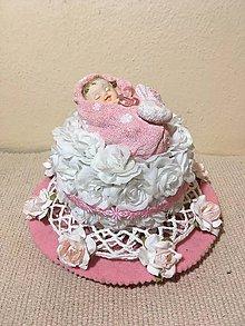 Dekorácie - torta krstiny ružová - 7758491_
