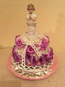 Dekorácie - torta 1. sväté prijímanie ružová - 7758524_