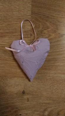 Drobnosti - Levanduľové srdiečko z ružovej madeiry - 7756147_