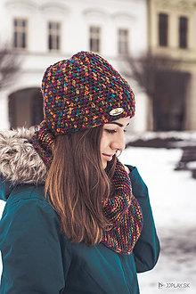 Čiapky - Melírovaná čiapka bordovo-žltá - 7757916_