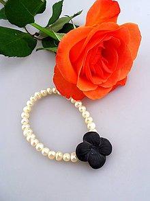 Náramky - perly pravé ónyx matný náramok - nočný kvet - 7754730_