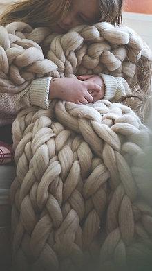 Úžitkový textil - Obria pletená deka Merino - 2kg/100X130 - 7756339_