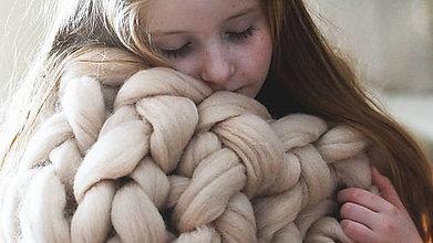 Úžitkový textil - Obria pletená deka Merino - 130x190 - 7756790_