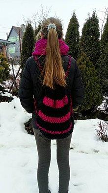 Batohy - Batoh -čierny s pink pásikmi - 7755421_