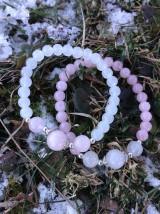 Sestričky - ruženín a biely jadeit - duonáramky