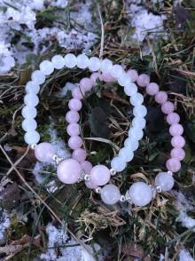Náramky - Sestričky - ruženín a biely jadeit - duonáramky - 7757692_