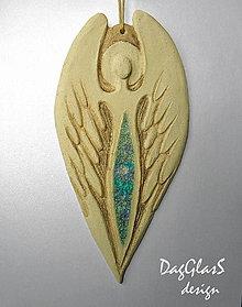 Dekorácie - keramický anjel  - dekorácia na stenu - 7756163_