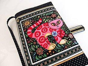 Papiernictvo - Růžová kočička - romantický obal na knihu - 7757366_
