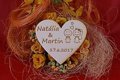 Drevená svadobná magnetka ako vyslužka hosťom  89
