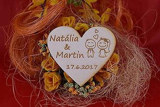 Darčeky pre svadobčanov - Drevená svadobná magnetka ako vyslužka hosťom  89 - 7755531_