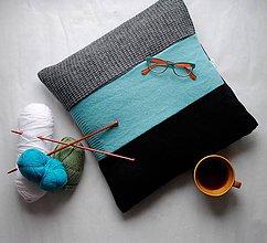 Úžitkový textil - Tyrkysovo šedý vankúš - 7758308_