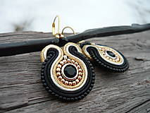 - Soutache náušnice Golden Night - 7759292_