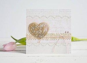 Papiernictvo - Pozdrav štýlový, svadobný - srdiečko na ružovej - 7761436_