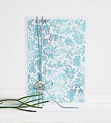 Papiernictvo - Pozdrav štýlový - Kvetiny modré - 7761573_