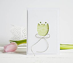 Papiernictvo - Pozdrav štýlový - tulipán zelený - 7761587_