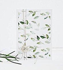 Papiernictvo - Pozdrav štýlový - Lístky zelené - 7761719_
