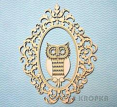 Polotovary - Výrez OWLove - sova v rámiku #1 - 7762245_
