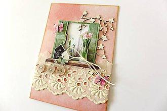 Papiernictvo - pohľadnica ružová - 7759423_
