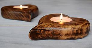 Svietidlá a sviečky - Svietnik - drevené srdce (veľké) - 7761403_