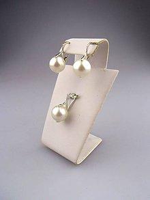 Sady šperkov - perly swarovski náušnice prívesok v striebre - 7762169_