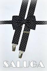 Detské doplnky - Detský motýlik + traky čierny na biele bodky bodkovaný - 7761059_