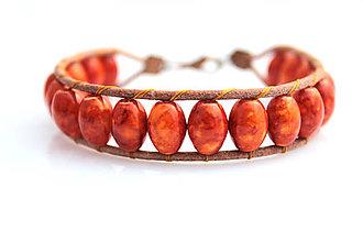 Náramky - Kožený náramok - mramor oranžový - 7759080_