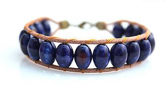 Náramky - Kožený náramok - mramor modrý - 7759087_
