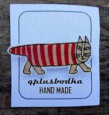 Odznaky/Brošne - pruhovana mačka - 7761016_