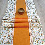 Úžitkový textil - Oranžovo zeleno jarný - stredový obrus(1) 135x41 - 7762600_