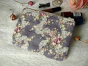 Peňaženky - Taštička na mobil - krajky a růže - 7759341_