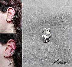 Náušnice - záušnica s perleťovými korálikmi - 7762877_