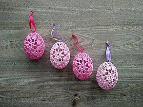Dekorácie - Háčkované vajíčka ružové - 7766802_