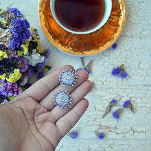 Náušnice - Lilac baldachins - vyšívané puzety - 7767206_