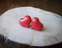 Náušnice - Srdiečka 10 mm (červené) - 7763182_